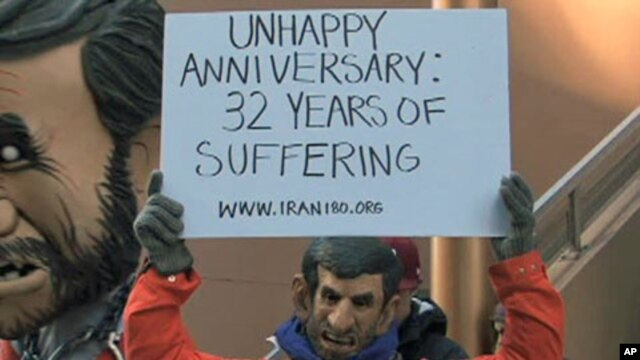 This Mahmoud Ahmadinejad impersonator appeared recently near Iran's United Nations mission in New York.  He says he seeks regime change in Iran