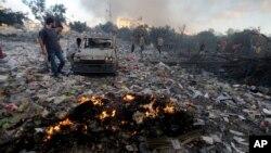 Véhicule détruit dans Gaza City