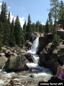 This July 19, 2014 photo shows Alberta Falls in the Bear Lake Corridor Trails area in Rocky Mountain National Park in Colorado.