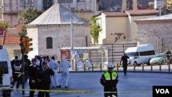 Lokasi pemboman bunuh diri di pusat kota Istanbul, Turki.