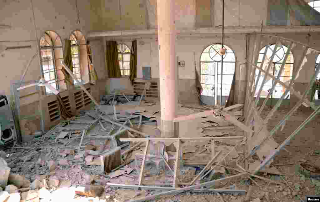 The inside of a damaged mosque in Dahra Abd Rabbo village, Aleppo, May 27, 2013.