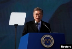 South Korean President Moon Jae-in delivers a speech during a ceremony celebrating the 99th anniversary of the March First Independence Movement against Japanese colonial rule, at Seodaemun Prison History Hall in Seoul, South Korea, March 1, 2018.