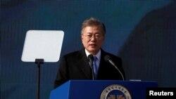 Presiden Korea Selatan Moon Jae-in di Seodaemun Prison History Hall, Seoul, Korea Selatan, 1 Maret 2018. (Foto: dok).