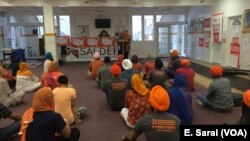 "Amrita Bamrah, Policy Director of SALDEF, addresses attendees of the ""SALDEF Wears Orange"" Event."
