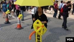 金钟占领区11月15日仍有大批市民留守(美国之音海彦拍摄)