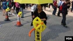 金鍾佔領區11月15日仍有大批市民留守(美國之音海彥拍攝)