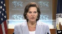 미 국무부 정례브리핑에서 빅토리아 눌런드 대변인. (자료사진)