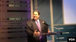 美國商會全球創新政策中心(GIPC)主席大衛·赫斯曼在2019年國際知識產權指數報告發布會上。(2019年2月7日)