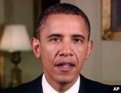奥巴马总统周末例行讲话-视频截图