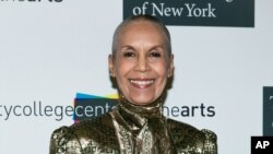 FILE - Carmen de Lavallade arrives at City College Center for the Arts 2015 CCCA Awards at Aaron Davis Hall, May 4, 2015, in New York.