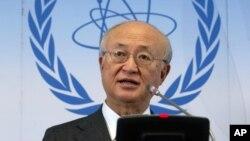 아마노 유키야 국제원자력기구 IAEA 사무총장이 7일 오스트리아 빈에서 정기이사회를 가진 후 기자회견을 하고 있다.