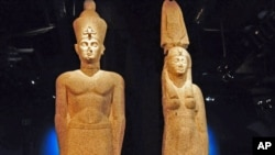 The large statues on display at the 'Cleopatra: The Search for the Last Queen of Egypt' exhibit at the Franklin Institute in Philadelphia, Pa., are among 150 artifacts that are featured.