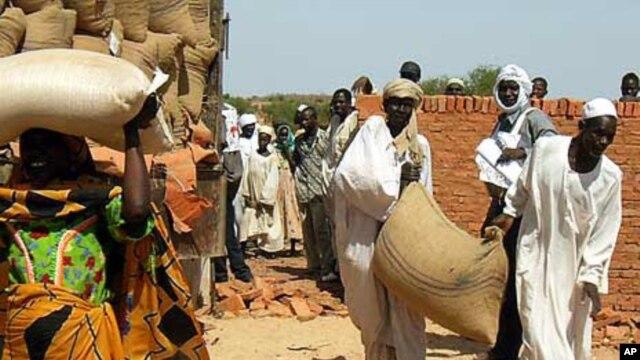 Des déplacés au Tchad recevant des sacs de graines du CICR