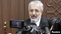 Iranian ambassador Ali Asghar Soltanieh arrives for meeting with IAEA officials in Vienna, May 14, 2012.