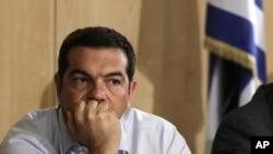 Thủ tướng Hy Lạp Alexis Tsipras thăm trụ sở Bộ giao thông vận tải ở Athens, ngày 12/8/2015.