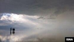 نمایی از دریاچه ارومیه پس از بارندگی - آرشیو