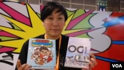 上書局出版社負責人鄺穎萱表示,香港書展的暢銷及主打書相當於一種民意調查 (美國之音湯惠芸)