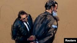 Un dibujo cuando el acusado apareció en una corte federal en Manhattan.