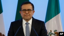 FILE - Mexico's Economy Secretary Ildefonso Guajardo Villarreal attends a press conference Mexico City, Sept. 5, 2017.