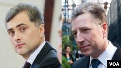 Радник президента Росії Владислав Сурков (ліворуч) та спецпредставник США з питань України Курт Волкер