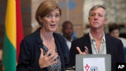 U.S. Ambassador to the United Nations Samantha Power speaks during a news conference following her visit to the U.N. Mission for Ebola Emergency Response (UNMEER) in Accra, Ghana, Oct. 29, 2014.