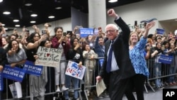 Kandidat Capres AS dari Patai Republik, Senator Bernie Sanders di San Diego Convention Center (22/3).