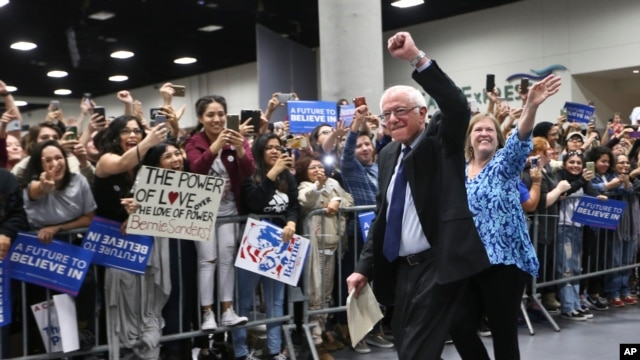Democratic presidential candidate, Sen.  Bernie Sanders, I-Vt., arrives at the San Diego Convention center for a rally Tuesday, March 22, 2016.