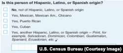 Section of 2020 U.S. Census form on Hispanic heritage