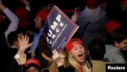 Des militants de Donald Trump à Manhattan, New York, le 8 novembre 2016.