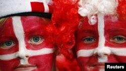 Des supporters danois, Londres, 4 aout 2012.