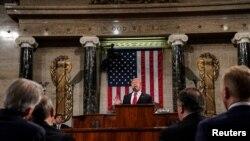 პრეზიდენტი დონალდ ტრამპი კონგრესის გაერთიანებული სხდომის წინაშე ქვეყნის მდგომარეობაზე და სამომავლო გეგმებზე საუბრობს