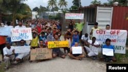 Asylum-seekers protest on Manus Island, Papua New Guinea, in this picture taken from social media, Nov. 3, 2017.