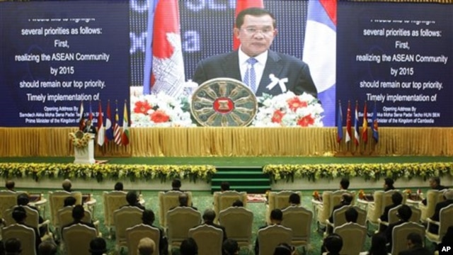 Cambodia's Prime Minister Hun Sen delivers his opening speaks for the 21st Association of Southeast Asian Nations or ASEAN Summit in Phnom Penh, Cambodia, Sunday, Nov. 18, 2012.