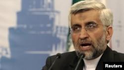 سعید جلیلی مذاکره کننده ارشد ایران در کنفرانس خبری سه شنبه ۱۹ ژوئن در مسکو