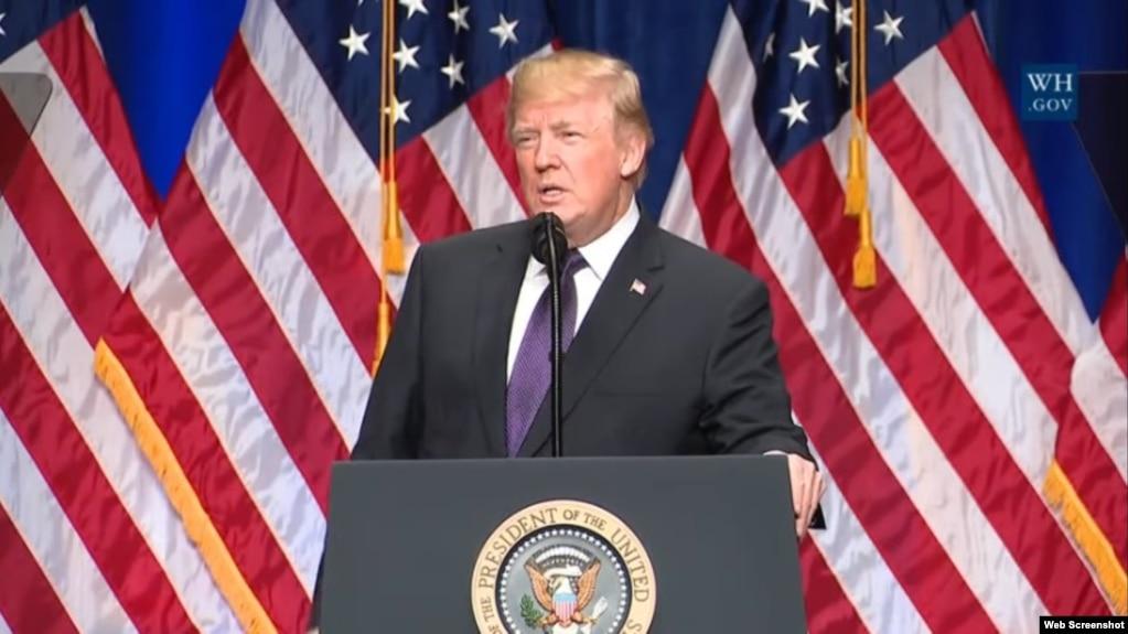 美國總統川普發表講話,闡述新國家安全戰略。 (2017年12月18日)