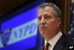 纽约市长白思豪(Bill de Blasio资料照片)