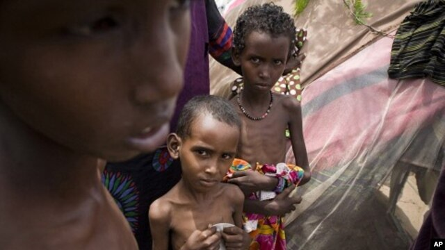 In this Saturday, Aug.13, 2011 photo released by the UNHCR severely malnourished children look on at the Al-Adala internally displaced people settlement in Mogadishu, Somalia