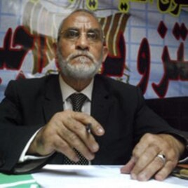 The leader of the Muslim Brotherhood, Egypt's largest opposition movement, Mohammed Badie talks during a conference on the 2010 Parliamentary Elections, in Cairo, 09 Nov 2010