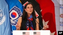 FILE - Lisa Baird, then the U.S. Olympic Committee chief marketing officer, speaks in Seoul, South Korea, Aug. 1, 2017. Reports on Oct. 1, 2021, said Baird was out as National Women's Soccer League commissioner amid allegations that a former coach had sexually harassed players.