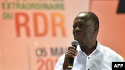 Alassane Ouattara lors d'un congrès extraordinaire du RDR à Abidjan, le 5 mai 2018.