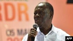 Le président ivoirien et leader du parti libéral RDR (Rassemblement des républicains - Rassemblement des républicains) Alassane Ouattara lors d'un congrès extraordinaire du RDR à Abidjan, le 5 mai 2018.
