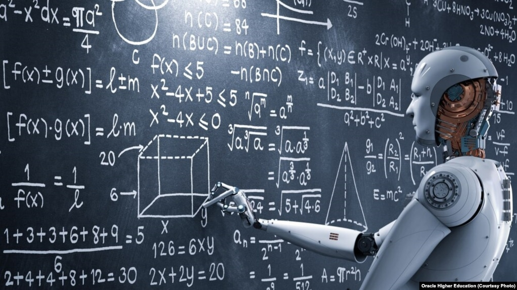In this picture, a human-like machine attempts to solve complex mathematics problems.