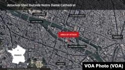 6일 괴한의 공격이 발생한 프랑스 파리 노트르담 대성당 인근 지도.