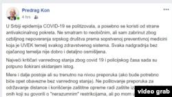 Status Predraga Kona na Fejsbuku
