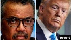 Foto konbinezon ki montre Prezidan Ameriken an Donald Trump, adwat, ak Direktè Jeneral OMS la, Tedros Adhanom, agoch.