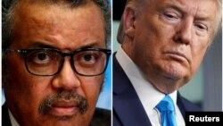 Tổng thống Hoa Kỳ Donald Trump (phải) và Tổng giám đốc Tổ chức Y tế Thế giới Tedros Adhanom Ghebreyesus