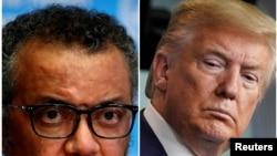 Perezida wa Reta zunze ubumwe z'Amerika Donald Trump hamwe n'umuyobozi wa OMS Tedros Adhanom