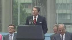 美国前总统里根1987年6月12日在德国柏林墙前发表讲话