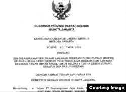 Keputusan Gubernur DKI Jakarta Nomor 237 Tahun 2020 tentang Izin Pelaksanaan Perluasan Kawasan Rekreasi tentang Izin Pelaksanaan Perluasan Kawasan Rekreasi Dufan Seluas ± 35 hektar dan Kawasan Rekreasi Taman Impian Ancol Timur Seluas ± 120 hektar. (Foto courtesy.)