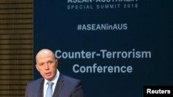 Bộ trưởng Nội vụ Úc Peter Dutton phát biểu tại phiên khai mạc Hội nghị Chống Khủng bố tổ chức tại Sydney, ngày 17/3/2018.